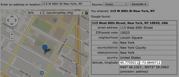 Geocoding: latitude and longitude