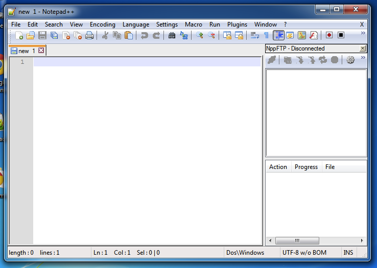 New document with Notepad++